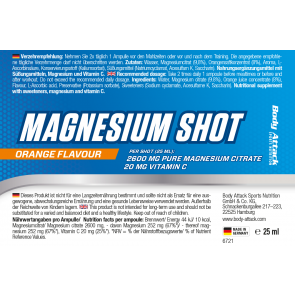 Body Attack Magnesium Shots 20x25ml - Orange