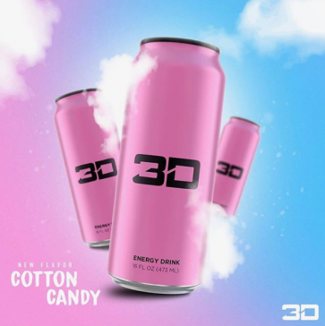 3D Energy Drink 24 x473ml Cotton Candy