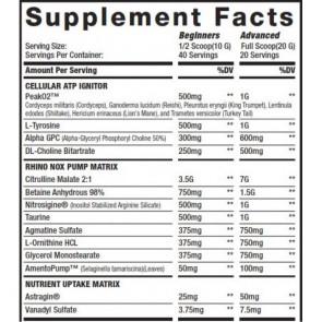 MuscleSport – RHINO Black Pumped 40 serv